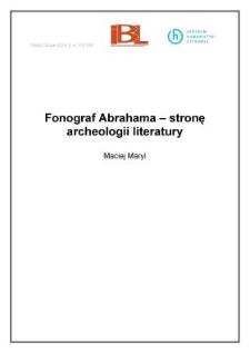 Fonograf Abrahama –w stronę archeologii literatury