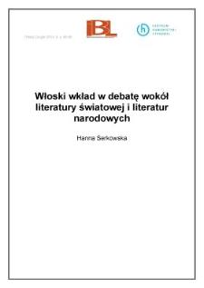 Włoski wkład w debatę wokół literatury światowej i literatur narodowych
