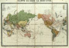 Karte der Erde nach Mercator : Politische Uebersicht und Darstellung des Weltverkehrs : mit Angabe der Dampferlinien der unterseeischen Kabel etc.