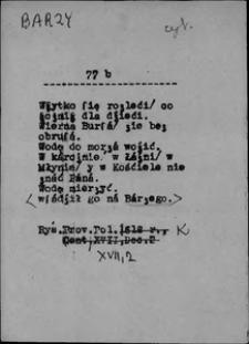 Kartoteka Słownika języka polskiego XVII i 1. połowy XVIII wieku; Barzy - Bąkowy