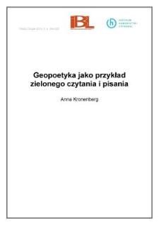Geopoetyka jako przykład zielonego czytania i pisania