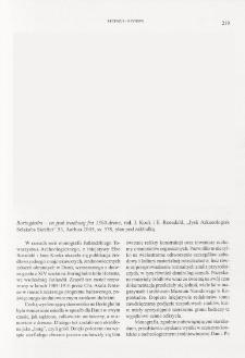 "Boringholm - en jysk traeborg fra 1300-arene, red. J. Kock i E. Roesdahl, ""Jysk ArkaeologiskSelskabs Skrifter"" 53, Aarhus 2005 : [recenzja]"
