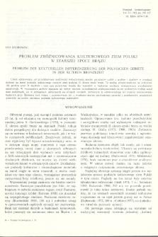 Problem zróżnicowania kulturowego ziem Polski w starszej epoce brązu