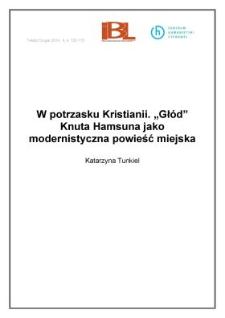 """W potrzasku Kristianii. """"Głód"""" Knuta Hamsuna jako modernistyczna powieść miejska"""