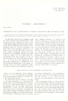 Problematik des gegenwärtigen Forschungsstandes der Badener Kultur