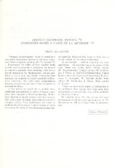 Zespoły datowane metodą 14C : From the Editor
