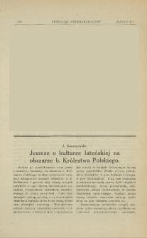 Jeszcze o kulturze lateńskiej na obszarze b. Królestwa Polskiego