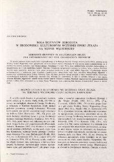 Rola Sigynnów Herodota w środowisku kulturowym wczesnej epoki żelaza na Nizinie Węgierskiej