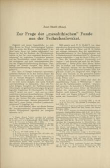 """Zur Frage der """"mesolithischen"""" Funde aus der Tschechoslovakei"""