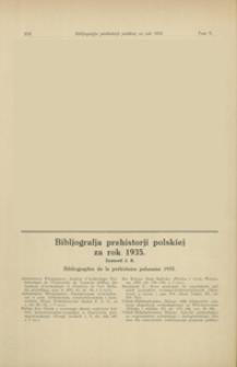 Bibljografja prehistorji polskiej za rok 1935