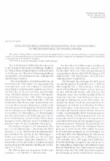 Siedlungsarchäologische Beobachtung zum Landesausbau im frühen Mittelalter (Westslowakei)