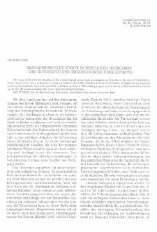 Brandenburgische Städte im westlichen Odergebiet - ihre historische und archäologische Überlieferung