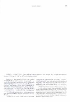 Sons et instruments de musique au Moyen Áge. Archéologie musicale dans l'Europe du VIIe au XIVe siècles, Catherine Homo-Lechner, Paris 1996 : [recenzja]