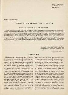 O możliwościach poznawczych archeologii