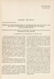Inspiracja fenomenologiczna w archeologicznych studiach nad religiami społeczeństw pradziejowych : refleksje etnoreligioznawcze