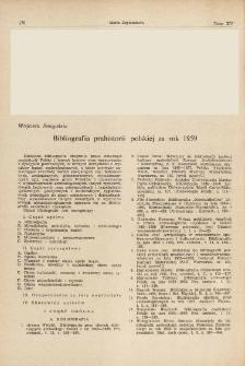 Bibliografia prahistorii polskiej za rok 1959