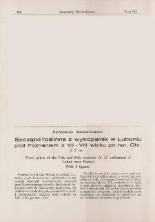 Szczątki roślinne z wykopalisk w Luboniu pod Poznaniem z VII-VIII wieku po nar. Chr.