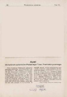Apel do byłych członków Polskiego Tow. Prehistorycznego
