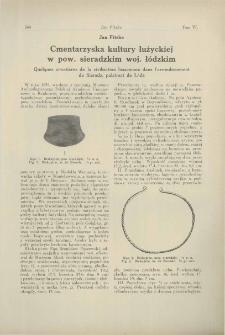 Cmentarzyska kultury łużyckiej w pow. sieradzkim woj. łódzkim