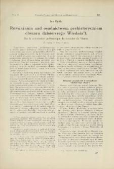 Rozważania nad osadnictwem prehistorycznem obszaru dzisiejszego Wiednia