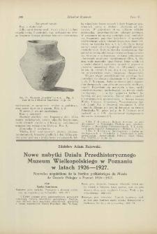 Nowe nabytki Działu Przedhistorycznego Muzeum Wielkopolskiego w Poznaniu w latach 1926-1927
