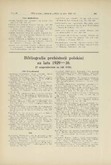 Bibljografja prehistorji polskiej za lata 1929-30 (z uzupełnieniem za rok 1928)