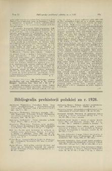 Bibljografja prehistorji polskiej za r. 1928