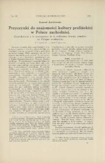 Przyczynki do znajomości kultury prafińskiej w Polsce zachodniej