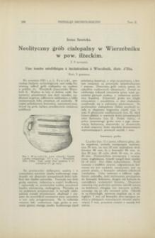 Neolityczny grób ciałopalny w Wierzebniku w pow. iłżeckim