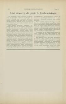 List otwarty do prof. L. Kozłowskiego