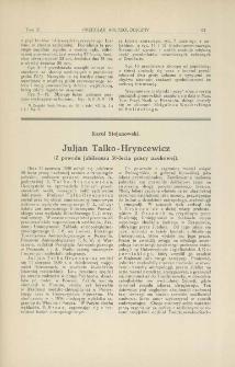 Juljan Talko-Hryncewicz : z powodu jubileuszu 50-lecia pracy naukowej