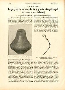 Przyczynki do poznania kultury grobów skrzynkowych wczesnej epoki żelaznej
