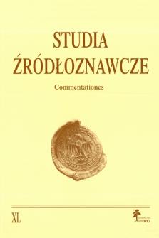 Studia Źródłoznawcze = Commentationes T. 40 (2002), Title pages, Contents