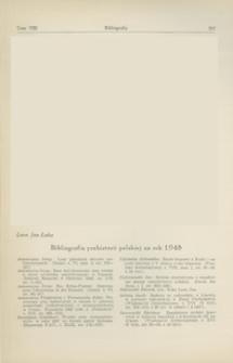 Bibliografia prehistorii polskiej za rok 1948 + Uzupełnienia za lata dawniejsze