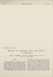 Materiały do środkowego okresu epoki brązowej w Wielkopolsce