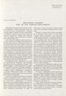 Bibliografia osobowa prof. dr. hab. Tadeusza Wiślańskiego