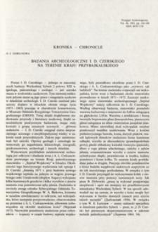 Badania archeologiczne I. D. Czerskiego na terenie kraju Przybajkalskiego