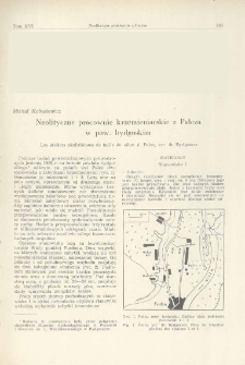 Neolityczne pracownie krzemieniarskie z Pałcza w pow. bydgoskim