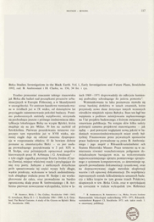 Investigations in the black earth. Vol. 1, Early investigations and future plans, ed. by B, Ambrosiani and H. Clarke, Stockholm 1992 : [recenzja]