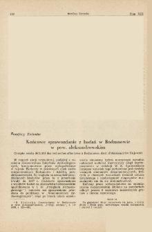 Końcowe sprawozdanie z badań w Bodzanowie w pow. aleksandrowskim