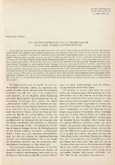 Das Definitionsproblem der Lausitzer Kultur und ihrer inneren Differenzierung