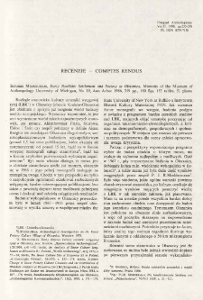Early Neolithic settlement and society at Olszanica, S. Milisauskas, Ann Arbor 1986 : [recenzja]