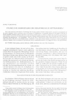 Studien zur Gebirgsfazies des Neolithikums in Mitteleuropa