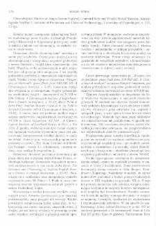 Chronological studies of Anglo-Saxon England, Lombard Italy and Vendel period Sweden, Lars Jørgensen, Copenhagen 1992 : [recenzja]