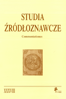 Studia Źródłoznawcze = Commentationes T. 38 (2000), Title pages, Contents