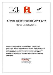Kronika życia literackiego 1949