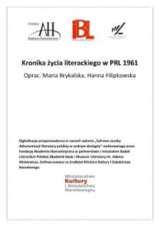 Kronika życia literackiego 1961
