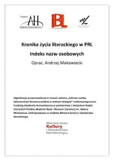 Kronika życia literackiego: indeks nazw osobowych