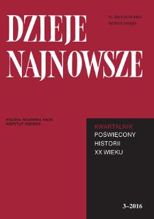 Dzieje Najnowsze : [kwartalnik poświęcony historii XX wieku] R. 48 z. 3 (2016), Title pages, Contents