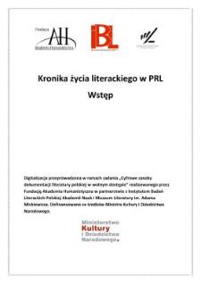 Kronika życia literackiego 1944-1969 - Wstęp